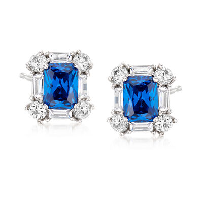 3.50 ct. t.w. Simulated Sapphire and 2.30 ct. t.w. CZ Earrings in Sterling Silver, , default