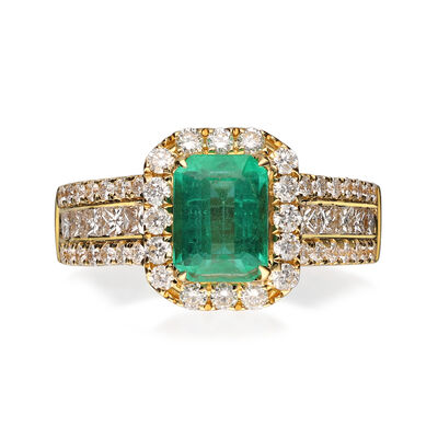 1.20 Carat Emerald Ring with .99 ct. t.w. Diamonds in 18kt Yellow Gold