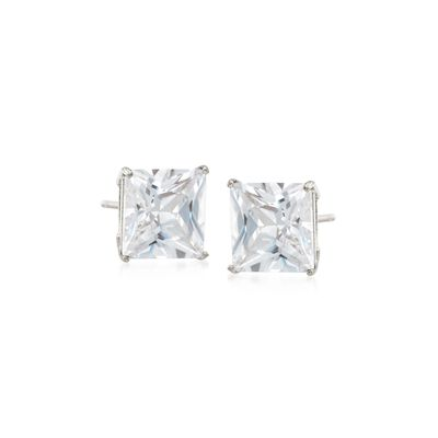4.00 ct. t.w. Princess-Cut CZ Stud Earrings in 14kt White Gold, , default