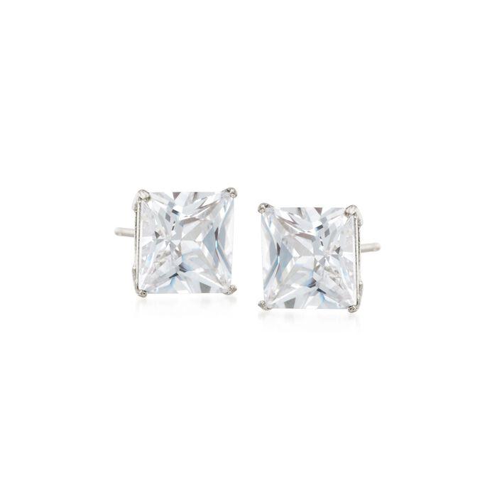 1.00 ct. t.w. Princess-Cut CZ Stud Earrings in 14kt White Gold, , default