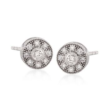 "ALOR ""Flamme Blanche"" .45 ct. t.w. Diamond Stud Earrings in 18kt White Gold, , default"
