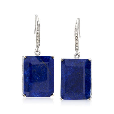 Lapis and .10 ct. t.w. Diamond Drop Earrings in Sterling Silver, , default