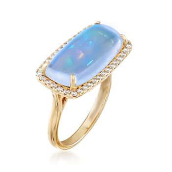Ethiopian Opal and .41 ct. t.w. Diamond Ring in 14kt Yellow Gold