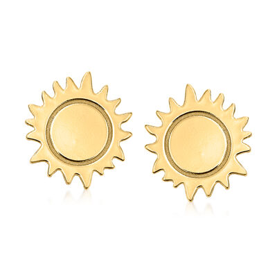 Italian 14kt Yellow Gold Sun Stud Earrings