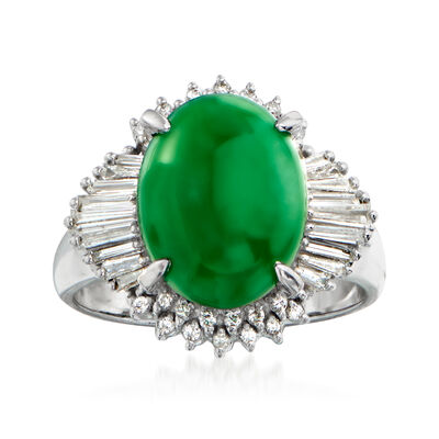 C. 1980 Vintage Jade and .50 ct. t.w. Diamond Ring in Platinum