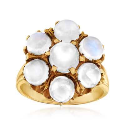 C. 1970 Vintage Moonstone Cluster Ring in 14kt Yellow Gold, , default
