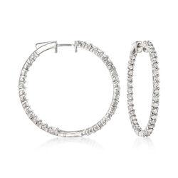 3.00 ct. t.w. Diamond Inside-Outside Hoop Earrings in Sterling Silver, , default