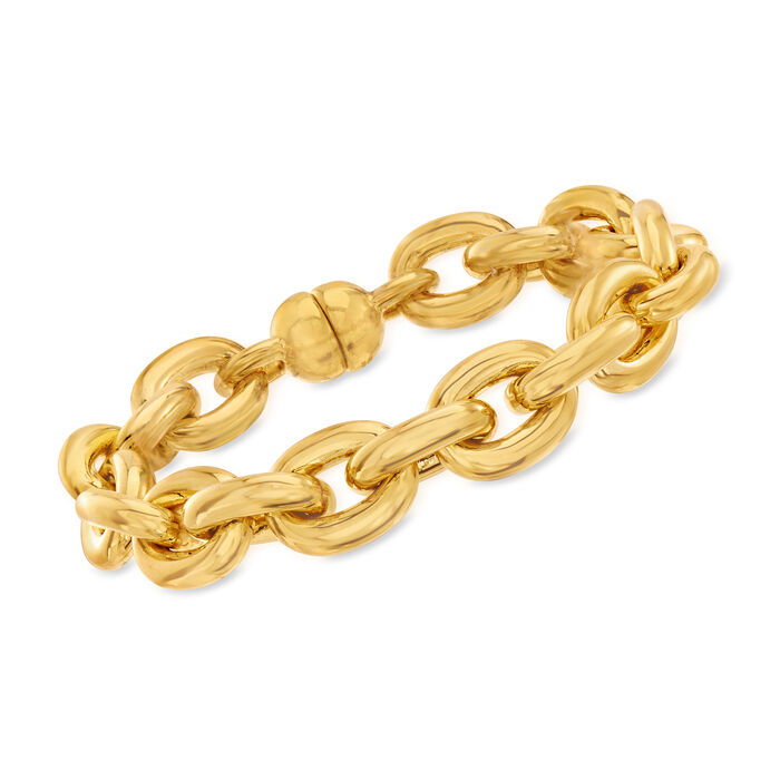 "Italian Andiamo 14kt Yellow Gold Oval-Link Bracelet. 8"""