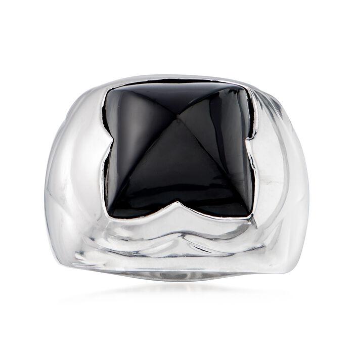 C. 1990 Vintage Bulgari Black Onyx Ring in 18kt White Gold