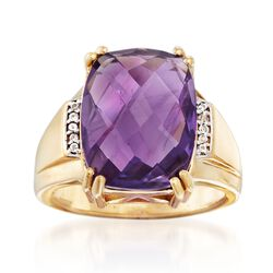 8.25 Carat Amethyst Ring With White Topaz Accents in 14kt Gold Over Sterling, , default