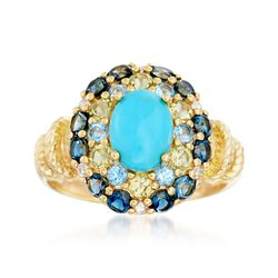 Turquoise Cabochon Ring With 1.58 ct. t.w. Multi-Stones in 18kt Gold Over Sterling, , default