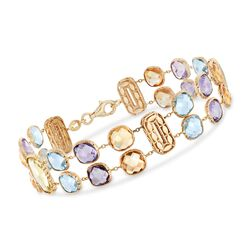 "Italian 18.00 ct. t.w. Multi-Stone Double-Row Bracelet in 14kt Yellow Gold. 6.75"", , default"