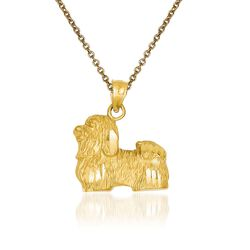 "14kt Yellow Gold Shih Tzu Pendant Necklace. 18"", , default"