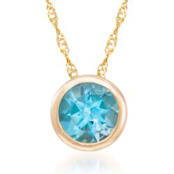 "1.00 Carat Bezel-Set Blue Topaz Necklace in 14kt Yellow Gold. 18"", , default"