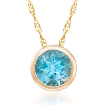 "1.00 Carat Bezel-Set Blue Topaz Necklace in 14kt Yellow Gold. 18"", , default"