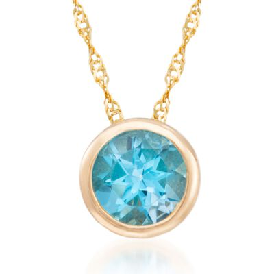 1.00 Carat Bezel-Set Blue Topaz Necklace in 14kt Yellow Gold, , default