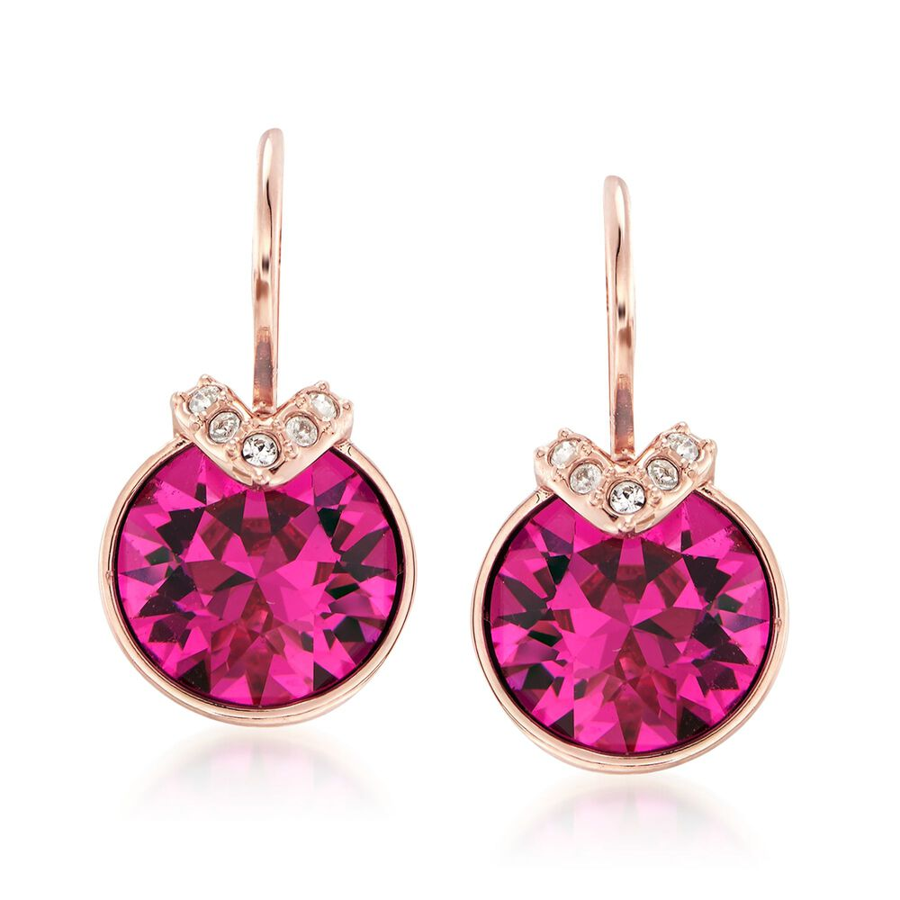 888ff697c22d Swarovski Crystal  quot Bella quot  Pink and Clear Crystal V-Shaped Drop  Earrings in
