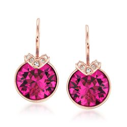 "Swarovski Crystal ""Bella"" Pink and Clear Crystal V-Shaped Drop Earrings in Rose Gold Plate , , default"