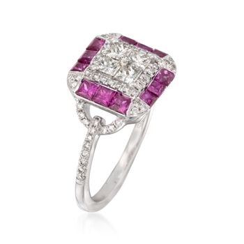 Gregg Ruth 1.07 ct. t.w. Ruby and .67 ct. t.w. Diamond Ring in 18kt White Gold, , default