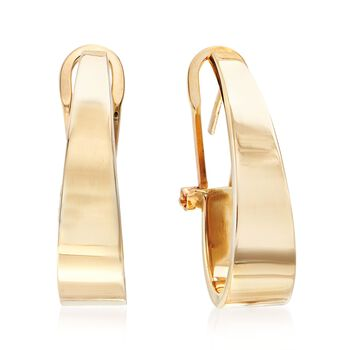 14kt Yellow Gold Tapered J-Hoop Earrings, , default