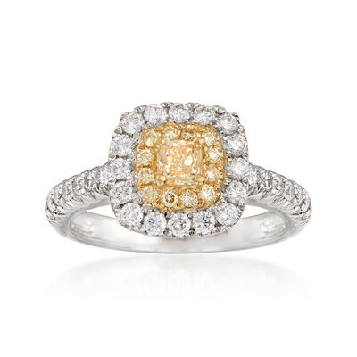 1.01 ct. t.w. Yellow and White Diamond Ring in 18kt Two-Tone Gold, , default
