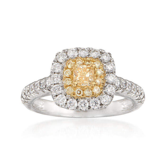 1.01 ct. t.w. Yellow and White Diamond Ring in 18kt Two-Tone Gold. Size 5, , default