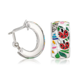 "Belle Etoile ""Ladybug"" White Enamel and CZ-Accented Hoop Earrings in Sterling Silver, , default"