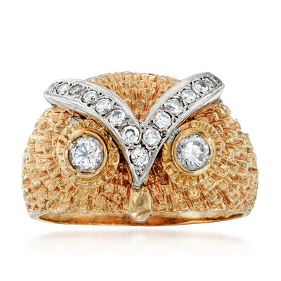C. 1980 Vintage 1.00 ct. t.w. Diamond Owl Ring in 14kt Two-Tone Gold, , default