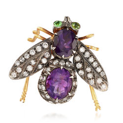 C. 1950 Vintage 3.90 ct. t.w. Amethyst and 1.00 ct. t.w. Diamond Bee Pin With Tsavorites, , default