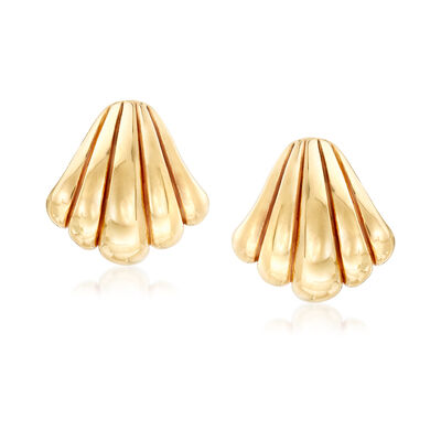 Italian Scalloped Shell Earrings in 18kt Yellow Gold, , default