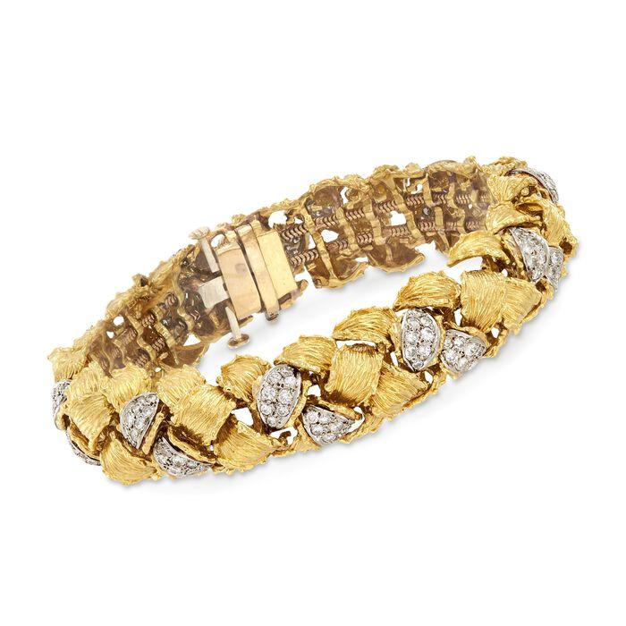 "C. 1970 Vintage 4.00 ct. t.w. Diamond Basketweave Bracelet in 14kt Two-Tone Gold. 7"", , default"