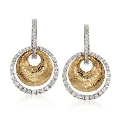 Simon G. .78 ct. t.w. Diamond Drop Earrings in 18kt Two-Tone Gold