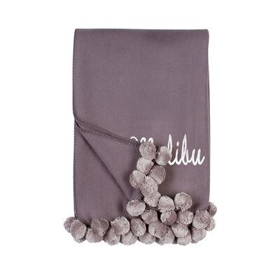 Steel and Dove Grey Pom Pom Throw Blanket, , default