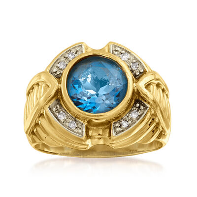 C. 1980 Vintage 2.50 Carat Swiss Blue Topaz Ring in 10kt Yellow Gold