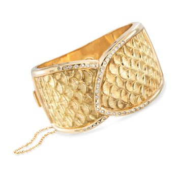 "C. 1990 Vintage .70 ct. t.w. Diamond Scaled Bangle Bracelet in 18kt Yellow Gold. 7"", , default"