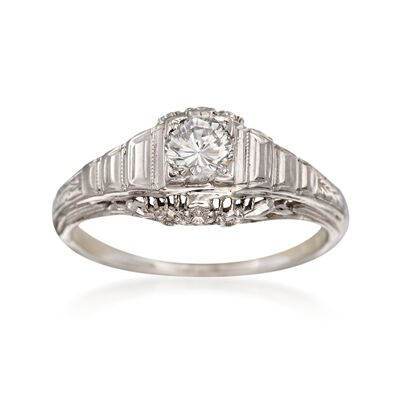 C. 1950 Vintage .35 Carat Diamond Floral Solitaire Ring in 18kt White Gold, , default