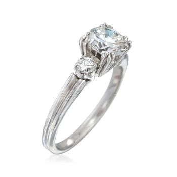 C. 2000 Vintage .90 ct. t.w. Diamond Ring in Platinum. Size 4