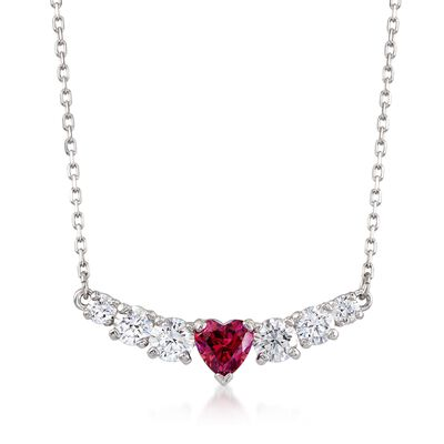 "Swarovski Crystal ""Love"" Pink and Clear Crystal Heart Necklace in Silvertone, , default"