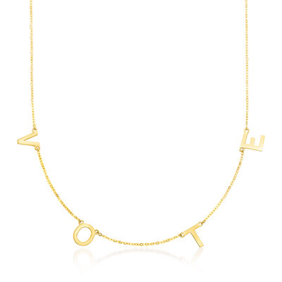 """14kt Yellow Gold """"Vote"""" Charm Necklace"""