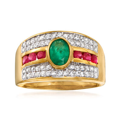 .80 Carat Emerald, .50 ct. t.w. White Zircon and .40 ct. t.w. Ruby Ring in 18kt Gold Over Sterling
