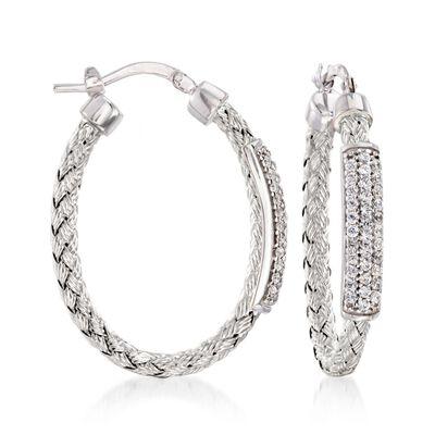 "Charles Garnier ""Nardini"" .60 ct. .W. CZ Oval Hoop Earrings in Sterling Silver, , default"