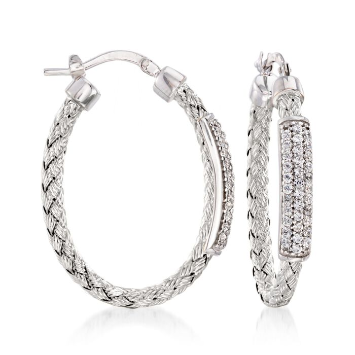 "Charles Garnier ""Nardini"" .60 ct. .W. CZ Oval Hoop Earrings in Sterling Silver. 1 1/4"""
