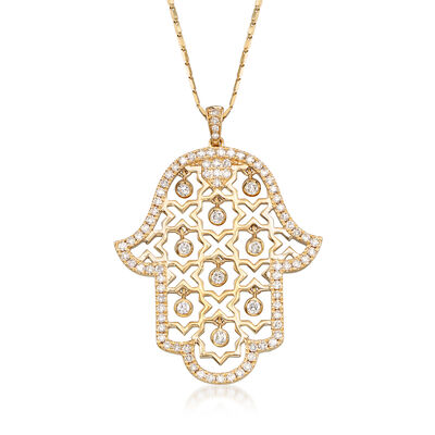 .87 ct. t.w. Diamond Hamsa Hand Necklace in 14kt Yellow Gold
