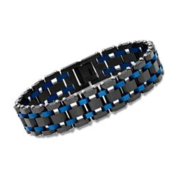 "Men's Black and Blue Stainless Steel Railroad-Link Bracelet. 8.5"", , default"