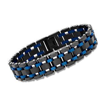 """Men's Black and Blue Stainless Steel Railroad-Link Bracelet. 8.5"""", , default"""