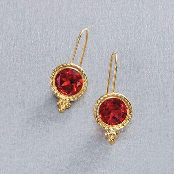 """2.00 ct. t.w. Garnet Drop Earrings 14kt Yellow Gold. 5/8"""", , default"""