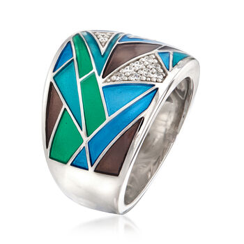 "Belle Etoile ""Chromatica"" Multicolored Enamel and .11 ct. t.w. CZ Ring in Sterling Silver, , default"