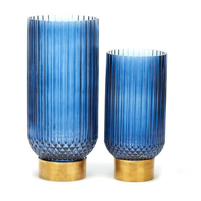 """Sullivan"" Set of 2 Blue-Ribbed Glass Candleholders/Vases with Brass Base, , default"