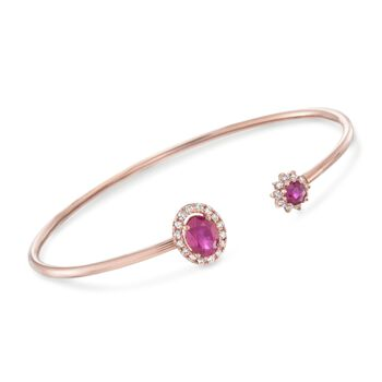 """Ruby and .30 ct. t.w. Diamond Cuff Bracelet in 14kt Rose Gold. 8"""", , default"""