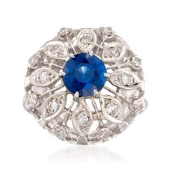 C. 1980 Vintage 1.25 Carat Sapphire and .40 ct. t.w. Diamond Dome Ring in 14kt White Gold. Size 5.75, , default